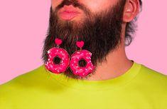 """Glossy Charm"" #earrings #ohrringe #donutcake #beard #statementjewelry #handmade Passion Project, Meet The Artist, Cute Earrings, Statement Jewelry, Crochet Earrings, Babe, Sugar, Graphic Design, Handmade"
