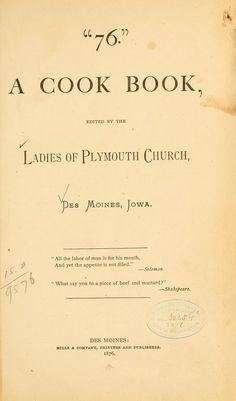 """""""76."""" A cook book  c. 1876"""