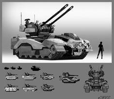 Arbalest Anti Aircraft Vehicle , Cameron Archer on ArtStation at https://www.artstation.com/artwork/arbalest-anti-aircraft-vehicle