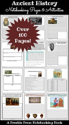 Freebie: Ancient History Notebooking Pages and Activities -- Over 100 Pages Included! Choose by topic or print them all