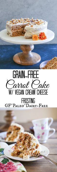 Paleo Carrot Cake - grain-free, refined sugar-free, dairy-free, and healthy! | TheRoastedRoot.net #recipe #dessert #easter #glutenfree
