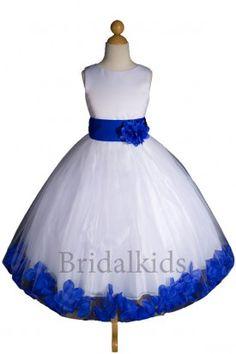 White/royal blue flower girl dress, so perfect
