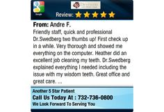 Friendly staff, quick and professional Dr.Swedberg two thumbs up! First check up in a...