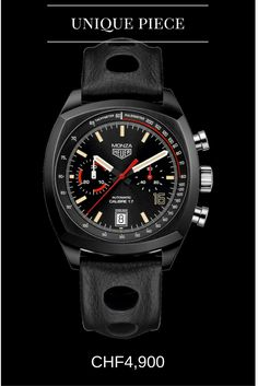 TAG HEUER Monza Calibre 17 Characteristics: numbered self-winding chronograph commemorating the anniversary of the Monza, titanium case Unique feature: stylized 16 numeral on the dial at 4 o'clock Cool Watches, Rolex Watches, Unique Watches, Fancy Clock, Time And Tide, Skeleton Watches, Tag Heuer, Leather Watch Bands, Luxury Watches For Men