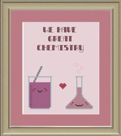 We have great chemistry: nerdy science cross-stitch pattern. $3.00, via Etsy.