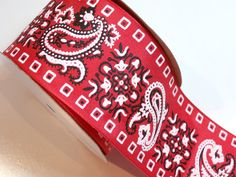 Red Bandana Paisley Wired Ribbon 2 1/2 inches by GriffithGardens, $3.75