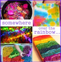 A collection of kids crafts and activities for and about rainbows.