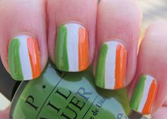 Irish Flag Fingernails! Happy St. Pat's