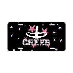 """Pink and Black Cheer license plate vanity tags measure approximately 12""""x6"""" with slotted mounting holes at the top and bottom to fit your car, truck, trailer or RV. This product is not appropriate for use in all states or on vehicles outside the USA  #cheer #cheerleading #giftideas #cheerleader #allstars #forteens #pink #dmv #licenseplates #customplates #car"""