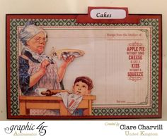 """Cakes"" card in Clare's Home Sweet Home recipe box [view 6] by Clare #graphic45 ~ Graphic 45 Projects."