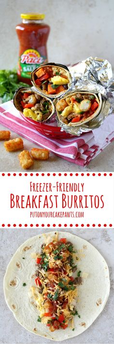 Freezer-friendly breakfast burritos are a great way to fuel up for your day, whatever your plans are! Choose from two varieties (or combine them into one!): sausage and tater tots or sweet potatoes and black beans. #MakeGameTimeSaucy #ad