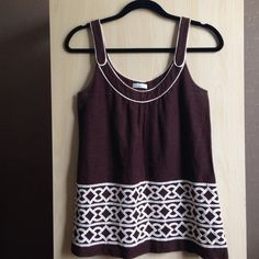 """Shoshanna Embroidered Tank A line shape, linen material. Chocolate brown with bone white embroidery. On trend with tribal inspired detailing. Fits like a 4-6. The only fitted section is the bust so I would recommend it for someone with 34"""" bust or smaller- otherwise it might fit a little snug. Shoshanna Tops Tank Tops"""