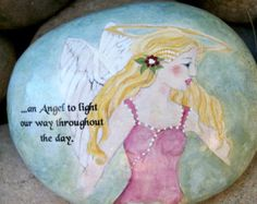 Handpainted Angel. Watercolor. Inspirational. Original Artwork. Pink.Teal. Art Rock. Gift. Mothers Day