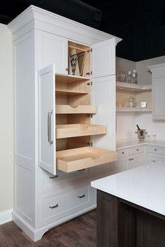 Thomas Fine Furniture - kitchens - pantry cabinets, pull out drawers, baking pan cabinet, baking pan storage, pan storage, kitchen storage,