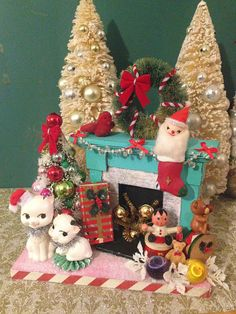 Kitschy Vintage Christmas Diorama Decoration Upcycled 1950s