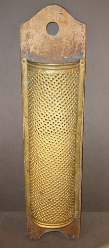 Primitive 19th Century Food Grater, Hand Punched Brass Grater Mounted on Wood
