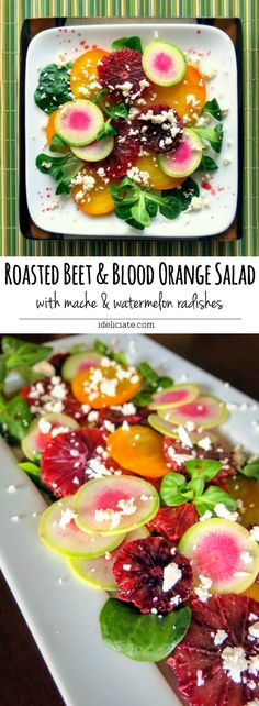 A delicious and colorful winter salad. Roasted golden beets are combined with tart-sweet blood oranges, crisp watermelon radishes, and tender mache.  #beets #citrus #bloodorange #salad #recipe