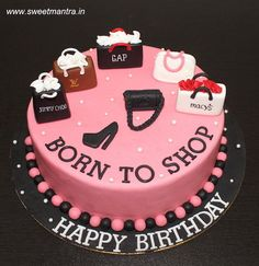 Born to Shop theme customized designer fondant cake with 3D shopping bags by Sweet Mantra - Customized 3D cakes Designer Wedding/Engagement cakes in Pune - http://cakesdecor.com/cakes/281759-born-to-shop-theme-customized-designer-fondant-cake-with-3d-shopping-bags