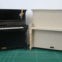 Miniature pianos from thick cardboard - DIY tutorial and template
