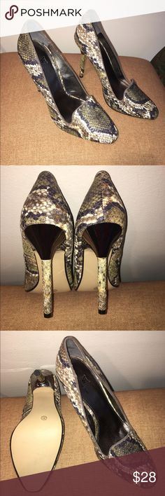 """Brand New Worthington snake design 4""""heels Sz 9.5M New never worn cushioned insole. Has a grayish/olive snake texture. The top of heel is bronze, rest is texture snake. Very stylish 9.5M  4""""heel Worthington Shoes Heels"""
