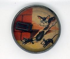 Vintage Tin Terrier Dog & Mice Dexterity / Skill Puzzle #Unbranded