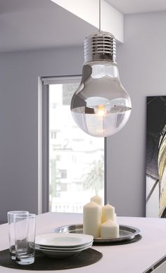 Ceiling lamp that looks like a giant light bulb! | product design | lighting design