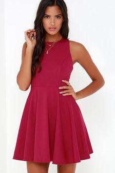 Stylish Ways Berry Red Skater Dress at Lulus.com!