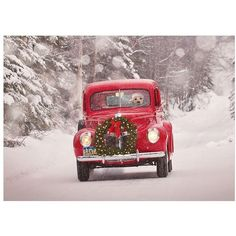 Viabella Old Truck and Wreath Boxed Christmas Cards ($8) ❤ liked on Polyvore featuring home, home decor and stationery