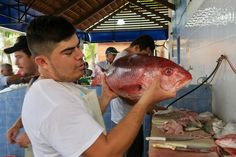 Fish doesn't get any fresher than this! It's the fish market near Sayulita in Mexico, where the locals do their food shopping and so do a few tourists like us.