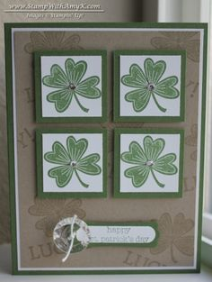 handmade St. Patrick's Day card ... four square with four leaf clovers ... green and white on kraft ... Stampin' Up!
