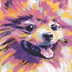 Pomeranian art print pop dog art bright colors 8x8 Lea. $11.99, via Etsy.