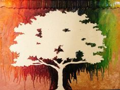 crayon melted tree art - Google Search