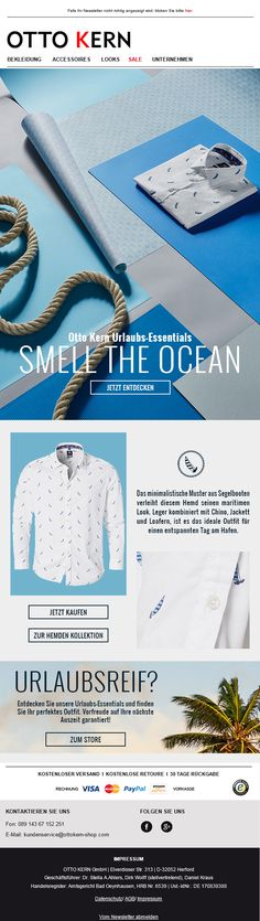 Taste the Sun! Fashion for Men, Otto Kern presents the new casual-shirts collection for Spring/Summer 2016. Newsletter for the new Shirt collection with minimal-prints. Premium Fashion for Men