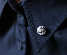 Full Moon collar brooch Space collar pin tiny by smafactory