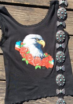 Vintage Eagle and Roses Boho Biker Lacey Tank Top by RanchoRetroVintage on Etsy https://www.etsy.com/listing/489254093/vintage-eagle-and-roses-boho-biker-lacey