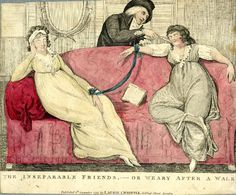 Laurie & Whittle, The inseparable friends, or weary after a walk  Two young ladies tied together at the wrists by a ribbon sleeping on a sofa, where one is being tickled by a gallant. I wonder if it is a comment on the strange relationship of the Devonshires??- 8 September 1797