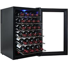 Freestanding Wine Cellars - AKDY 28 Bottle Single Zone Thermoelectric Freestanding Wine Cooler Cellar Chiller Refrigerator Fridge Quiet Operation *** Visit the image link more details. Thermoelectric Wine Cooler, Thermoelectric Cooling, Best Wine Coolers, Cooler Reviews, Packing A Cooler, Wine Collection, Cool Kitchens, Wine Rack, Wines