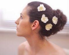 Bridal Hair Flowers 4 pcs  Ivory Cream Hydrangea by BelleBlooms, $25.00