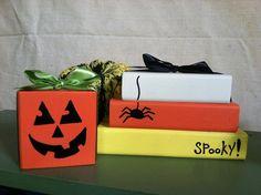 candy corn and pumpkin halloween decor wooden block sets.