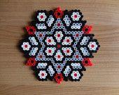 1 House ornament, house decoration grey, black, rend, Hama Beads