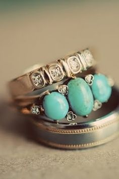 Vintage Rings. I love this combination, wedding band plus engagement ring. Beautiful