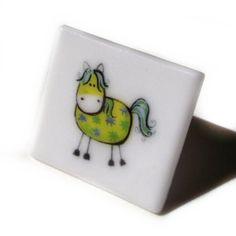 Pony Horse Brooch White Glass by flyingcheesetoastie on Etsy, £6.00