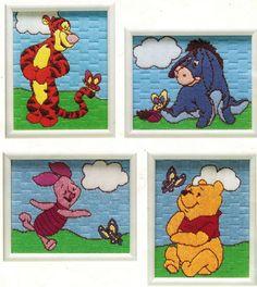 Plastic Canvas Long Stitch Pooh Tigger Eeyore Piglet Wall Hanging Framed Pattern