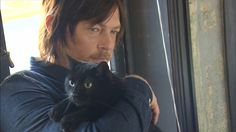Norman Reedus and Eye in the Dark (his cat!!)
