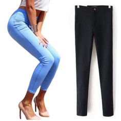 High Waist Elastic Slim Jeans -  Free Shipping Worldwide