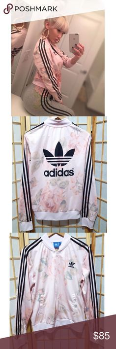 Rare🌹Pastel Rose Floral Adidas Track Jacket M Love this chic feminine print😍 Mint condition zero flaws  **Also selling the matching dress in separate listing adidas Jackets & Coats