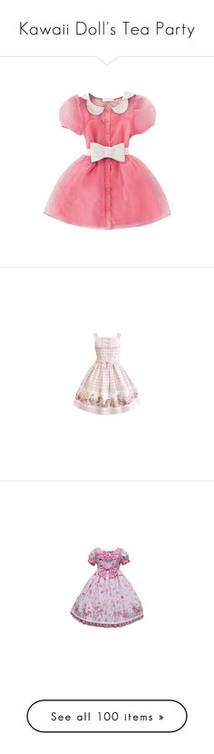 """""""Kawaii Doll's Tea Party"""" by pastelhologram ❤ liked on Polyvore featuring dresses, vestidos, pink, peter pan dress, red dress, pink peter pan dress, slimming dresses, short beaded dress, lolita and jsk"""