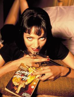 Uma Thurman at the Pulp Fiction poster shoot: note the title of the book in her hand.