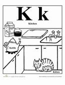 This kitchen scene is all about the alphabet, showing off everyday words that start with K.