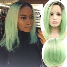 37.94$  Watch now - http://ai0ib.worlditems.win/all/product.php?id=32782180178 - Green Ombre Lace Front Bob Wig Silk Colored Wigs For White Women Peluca Sinteticas Lace Frontals Pelucas Pelo Natural Cosplay